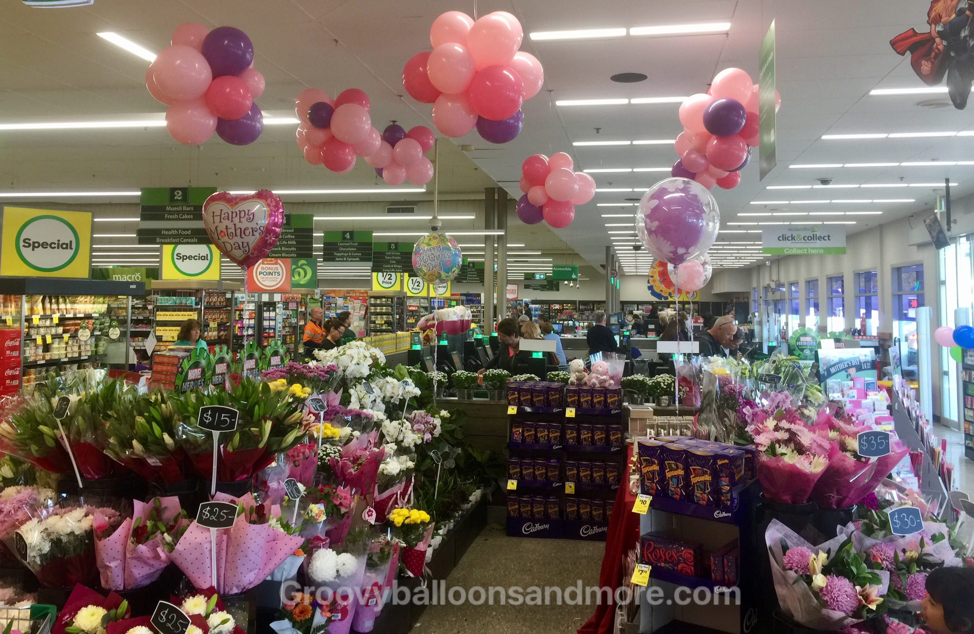 Woolworths stores are promoting marvel but they still have time for mothers day is here on sunday and some woolworths stores are showing off by running their marvel promo and a little mothers day decor go you good thing negle Choice Image